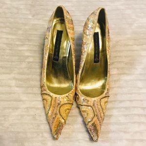 "Steven ""MAESTRO"" Gold Sequin Stiletto Heels 7 1/2"